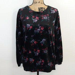 Jaclyn Smith Sport Floral Cozy Velvet Top Size XL
